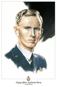 Flying Officer Nat Barry - portrait by Geoff Nutkins